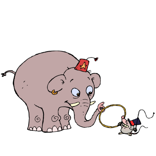 Circus elephant and mouse. Download ZIP-file: clip art circus 015