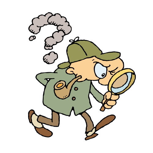 Sherlock Holmes with pipe and magnifying glass. Download ZIP-file: clip art