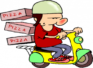 A pizza guy on a bright-colored scooter.